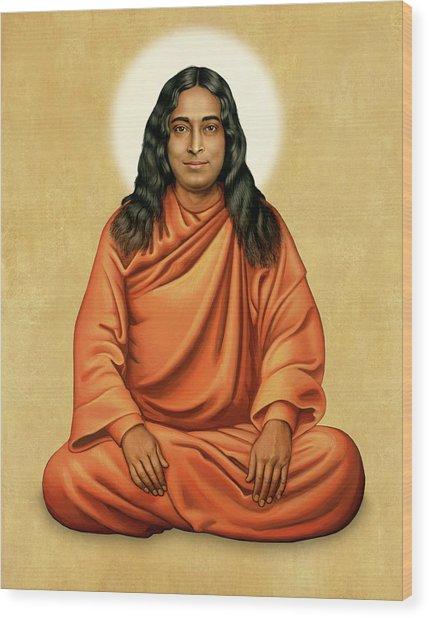 Paramhansa Yogananda On Gold Wood Print
