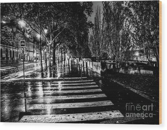 Paris At Night - Quai Voltaire Wood Print