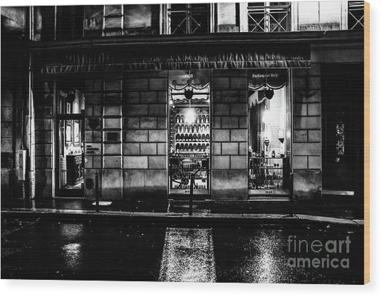 Wood Print featuring the photograph Paris At Night - Rue Bonaparte 2 by M G Whittingham