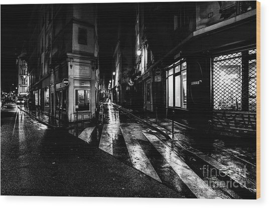 Wood Print featuring the photograph Paris At Night - Rue De Seine by Miles Whittingham