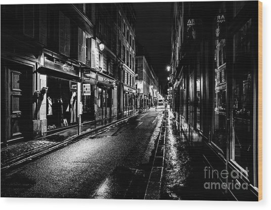 Wood Print featuring the photograph Paris At Night - Rue De Vernueuil by Miles Whittingham