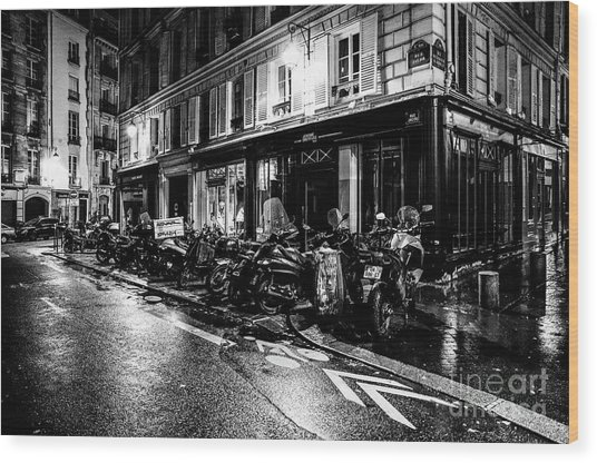 Paris At Night - Rue Jacob Wood Print