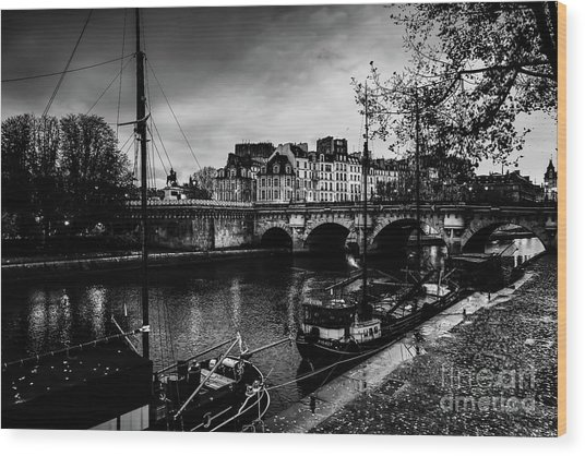Wood Print featuring the photograph Paris At Night - Seine River Towards Pont Neuf by Miles Whittingham