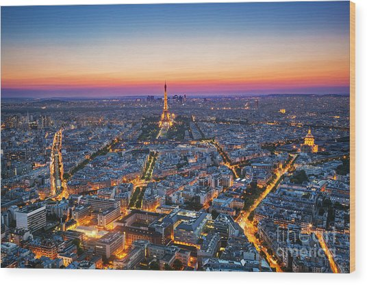 Paris, France At Sunset. Aerial View On Wood Print