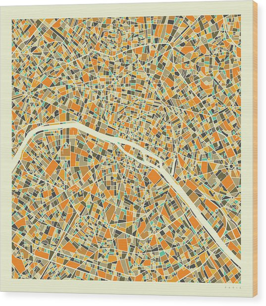 Paris Map 1 Wood Print
