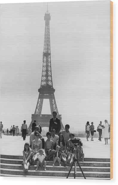 Paris Tourists Wood Print