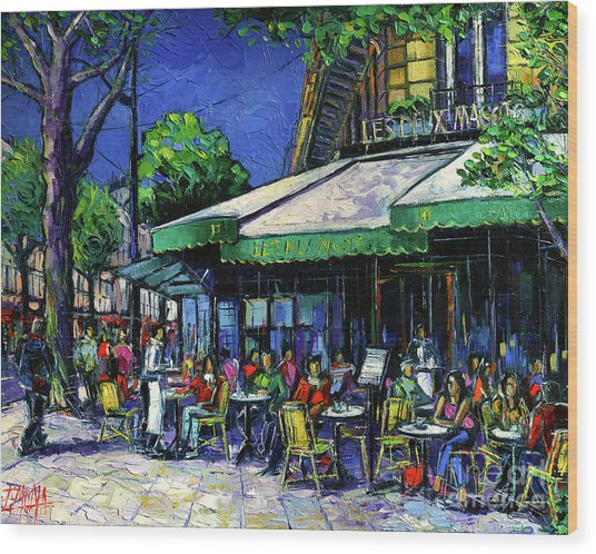 Parisian Cafe Wood Print