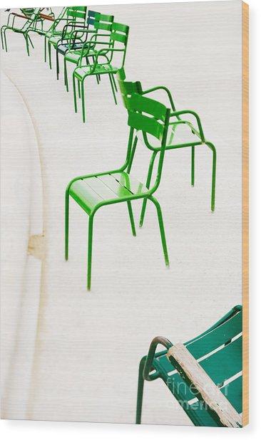 Parisian Metallic Chairs. Photo With Wood Print