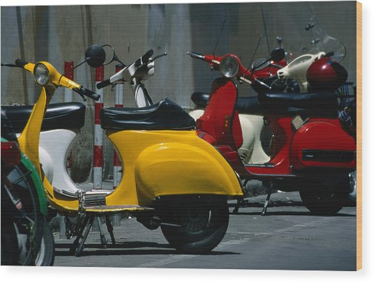 Parked Scooters Wood Print by Martin Moos