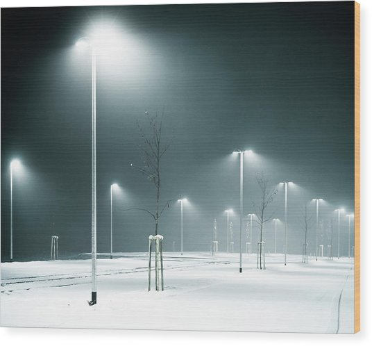 Parking Lot Wood Print by Photography By Andreas Strauch