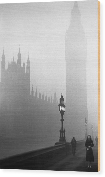 Parliament Fog Wood Print by Kurt Hutton