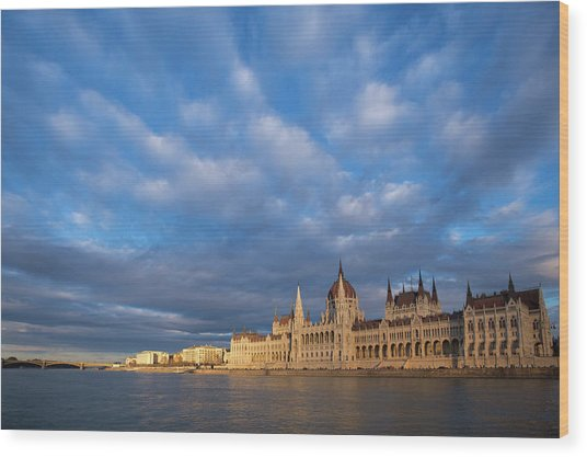 Parliament On The Danube Wood Print