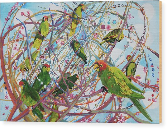 Parrot Bramble Wood Print