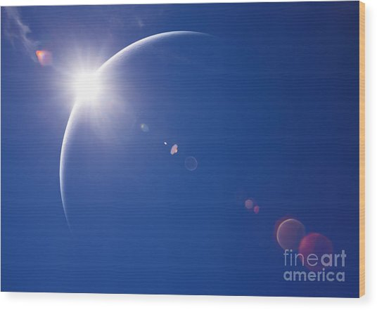 Partial Solar Eclipse With Blue Sky And Wood Print