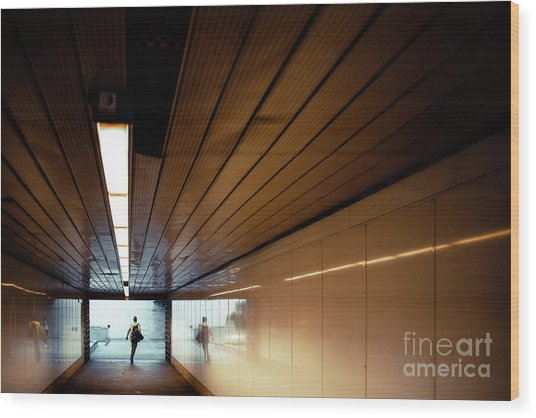 Passengers In A Hurry At The End Of A Tunnel At The Entrance To The Metro Station. Wood Print