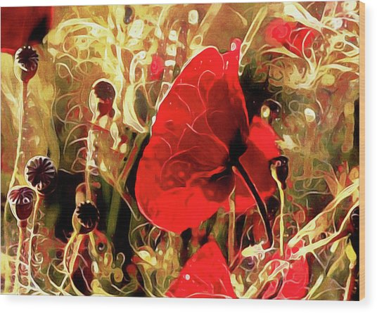 Wood Print featuring the mixed media Passionate About Poppies by Susan Maxwell Schmidt