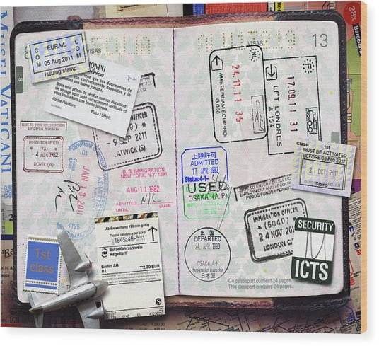 Passport With Stamps Wood Print