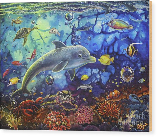 Past Memories New Beginnings Dolphin Reef Wood Print
