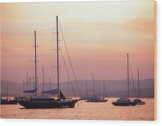 Pastel Dusk Sky And Yachts Wood Print by Secablue