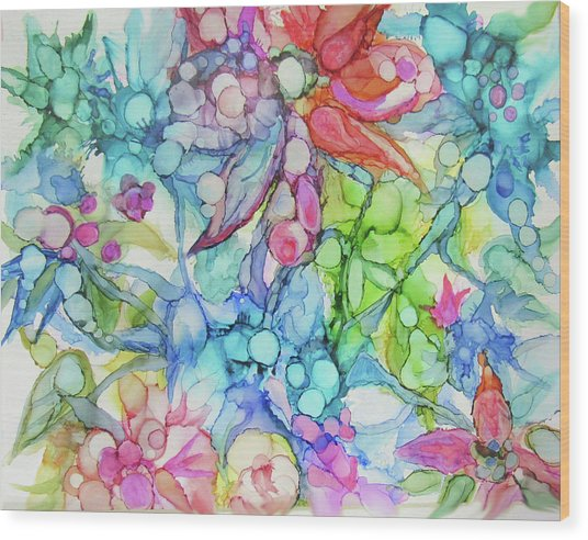Pastel Flowers - Alcohol Ink Wood Print