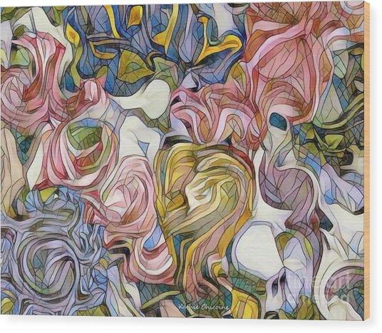 Pastel Mosaic Wood Print