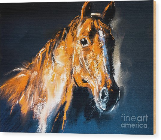 Pastel Portrait Of A Brown Horse On A Wood Print