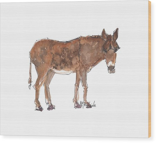 Pasture Boss 2015 Watercolor Painting By Kmcelwaine Wood Print