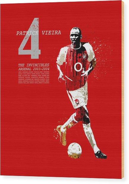 Patrick Vieira - Invincibles Arsenal Wood Print