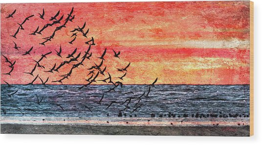 Patriotic Sunrise Wood Print