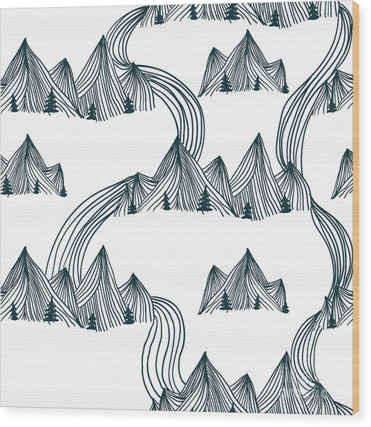Pattern Graphic Mountain Landscape Wood Print