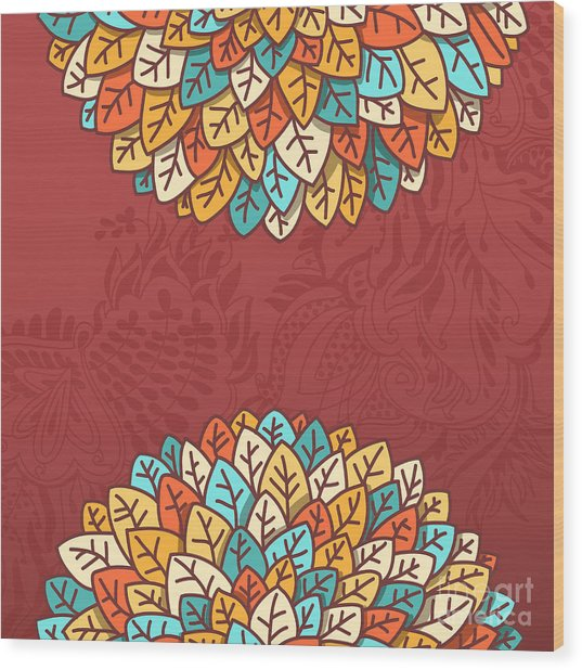 Pattern With Autumn Foliage Vector Wood Print