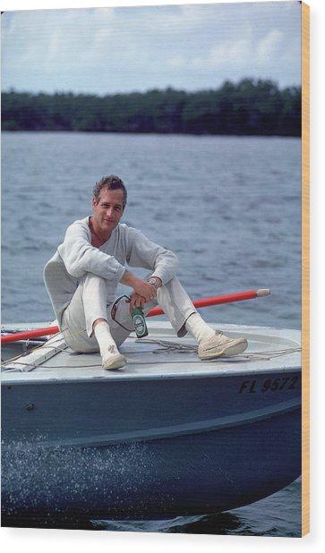 Paul Newman On Boat Wood Print by Mark Kauffman