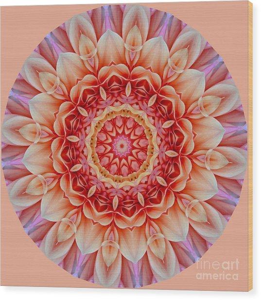 Peach Floral Mandala Wood Print