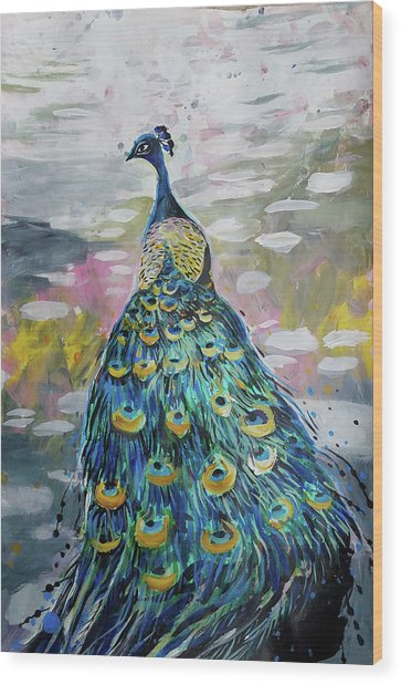 Peacock In Dappled Light Wood Print