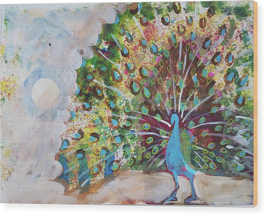 Peacock In Morning Mist Wood Print