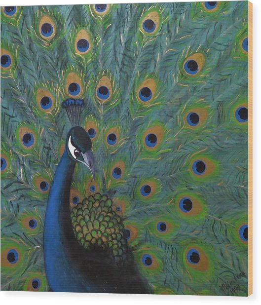 Wood Print featuring the painting Peacock by Joan Stratton