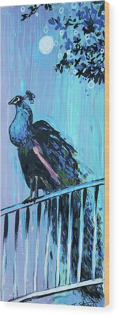Peacock On A Fence Wood Print