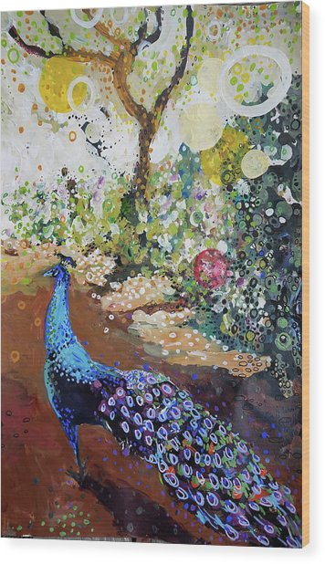 Peacock On Path Wood Print