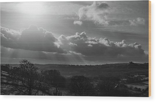Peak District From Black Rocks In Monochrome Wood Print