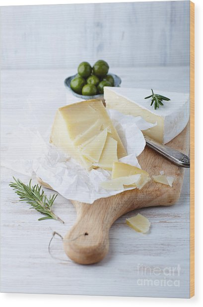 Pecorino And Brie Cheese On A Kitchen Wood Print