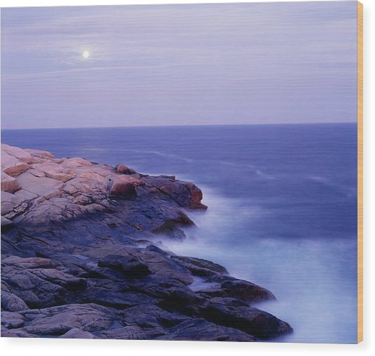 Peggys Cove In The Moonlight Wood Print
