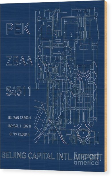 Pek Beijing Capital Airport Blueprint Wood Print