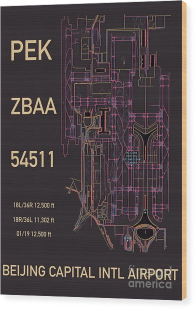 Pek Beijing Capital Airport Wood Print