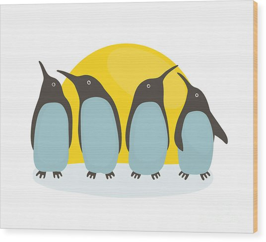 Penguins And Sun. Illustration Of Wood Print