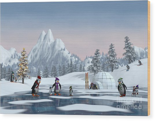 Penguins On A Frozen Lake In A Snowy Wood Print by Sara Winter