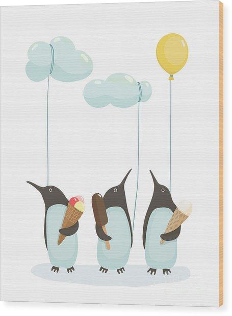 Penguins With Ice Cream. Illustration Wood Print
