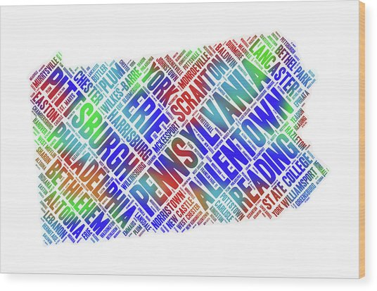 Pennsylvania Word Art State Map With Cities Wood Print