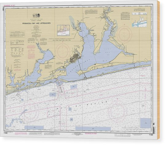 Pensacola Bay And Approaches Noaa Chart 11382 Wood Print