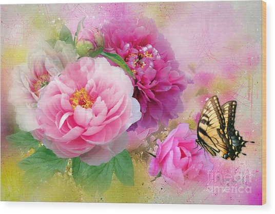 Peonies And Butterfly Wood Print
