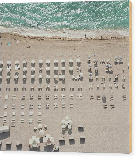 People At Beach, Using Rows Of Beach Wood Print by John Humble